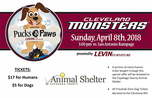 image of a flyer with a graphic of a dog and banner that reads Cleveland Monsters to the right