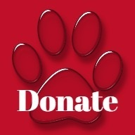 graphic of dog paw with Donate on it