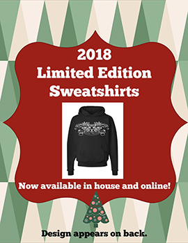 black sweatshirt with graphic of christmas tree beneath
